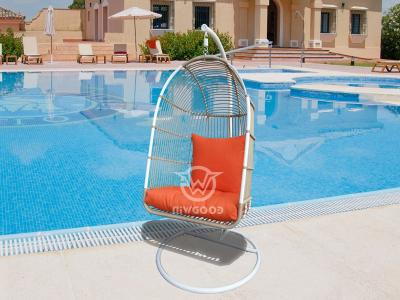 Adult Metal Frame Resin Wicker Egg Swing